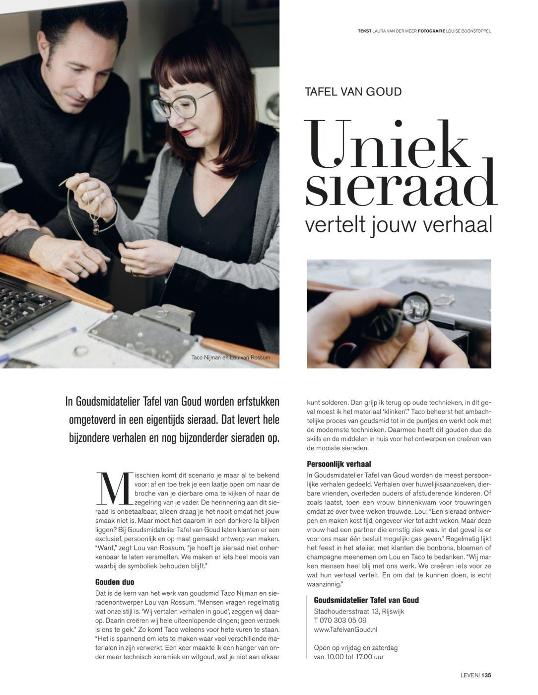 2018 Leven!Magazine Uniek Sieraad Tafel van Goud foto klein