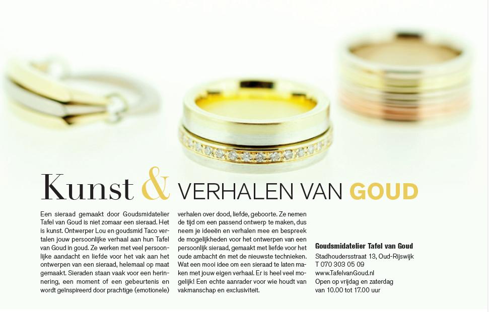 Leven!Magazine advertentie Kunst & Verhalen in Goud